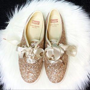 Keds X Kate Spade Glitter Sneaker W/ Satin Laces 6